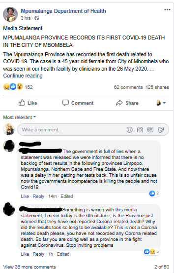 These are just two of the comments on Facebook