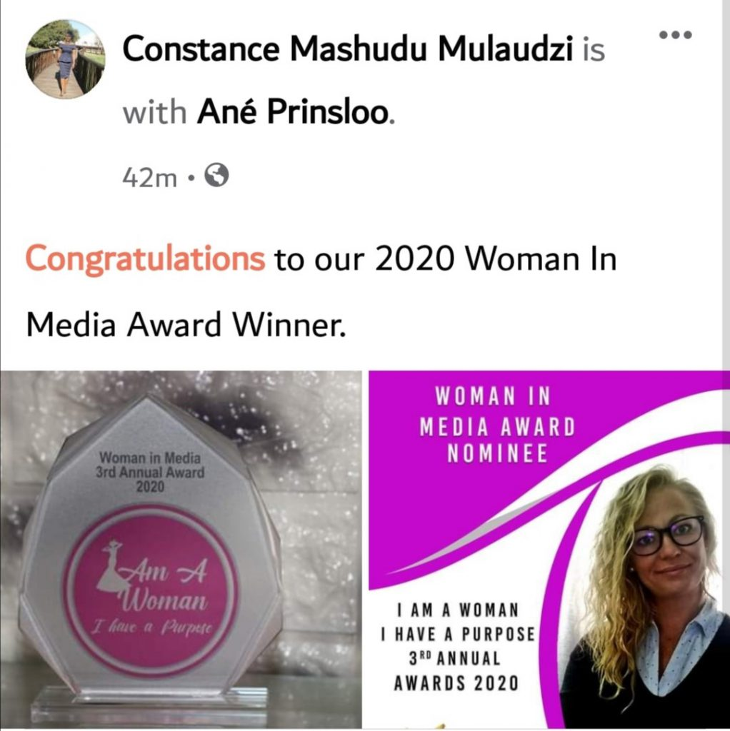 Ané recognised and awarded as top influential woman in media