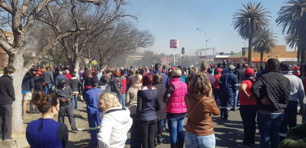 residents and shop owners protest in Lekwa