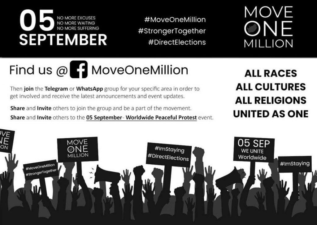 Move One Million demonstration on Saturday, 5 September
