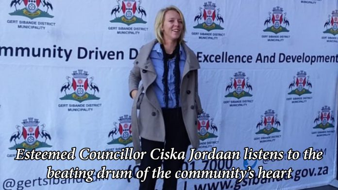 Esteemed Councillor, 1 and only Ciska Jordaan listens to the beating drum of the community's heart