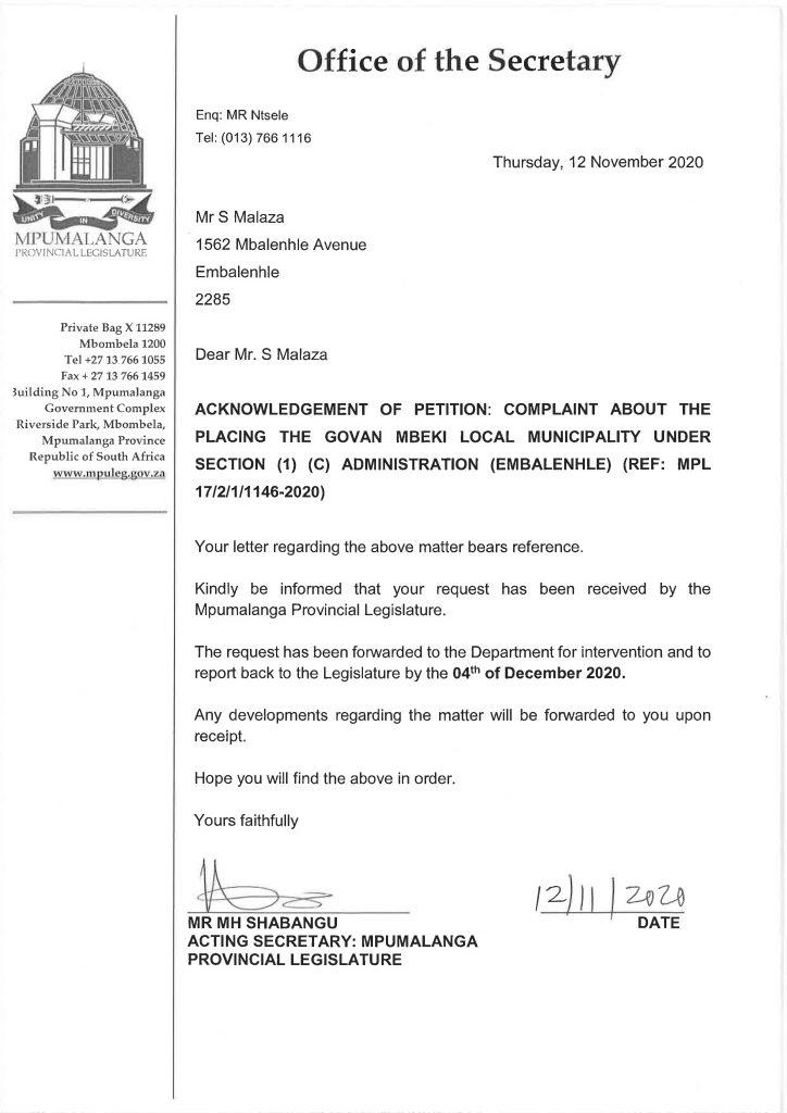 Govan Mbeki - Joint Civil Movement