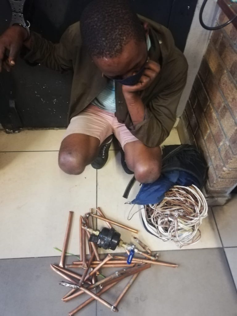 28 year old arrested for theft of copper pipes.