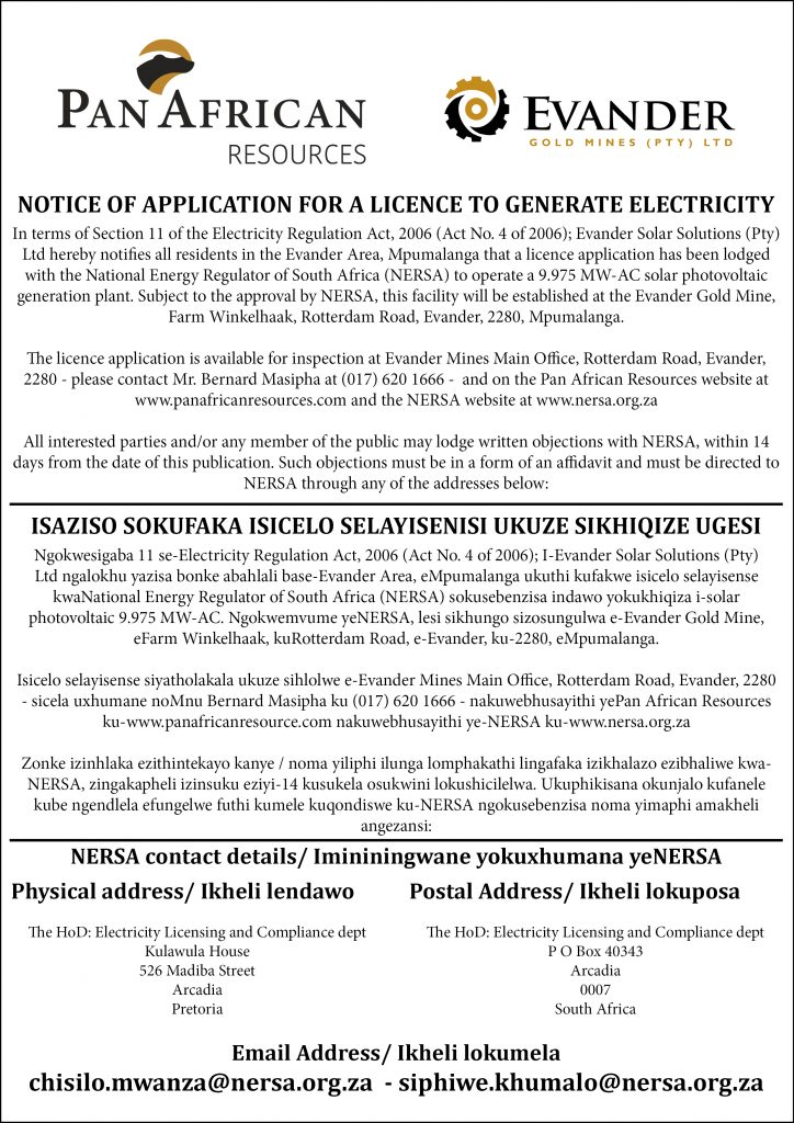 NOTICE OF APPLICATION FOR A LICENCE TO GENERATE ELECTRICITY